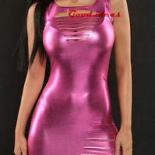 Pink Metallic PVC Slashed Minidress Clubwear S/M