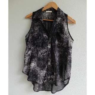 'Lush' Black/Grey Ladies Sheer Collared Singlet Size S or 6-10 Button Up
