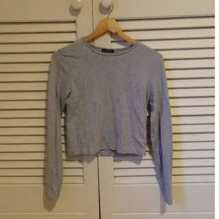 Zara Grey Cropped Long Sleeve Top