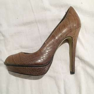 Terry Tan Crocodile Skin Heels