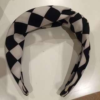 Retro Checkered Thick Hairband