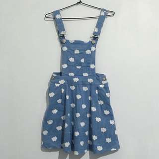 Cloud patterned dungaree dress