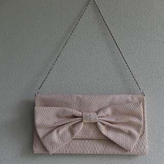 New Look UK Baby Pink Alligator Pattern Clutch Bag/Purse