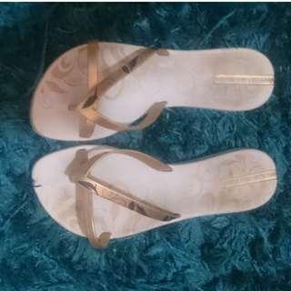 Gold & white iPanema thongs