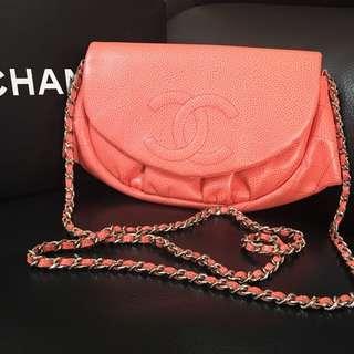 Chanel 珊瑚粉 woc 半月包!