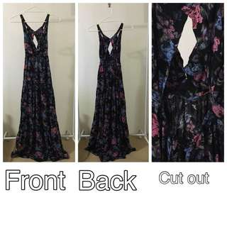 Backless Floral Maxi Dress (size 8-10)