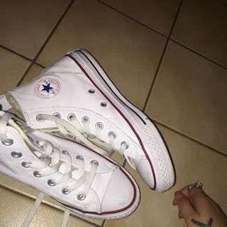 White Leather Converses Size 7