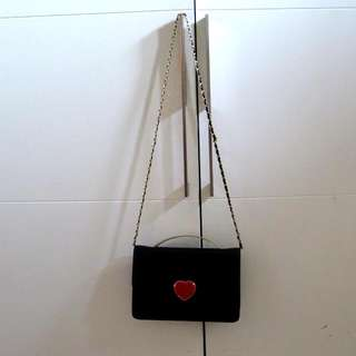 Charles & Keith - Black Leather Sling Bag W/ Red Heart