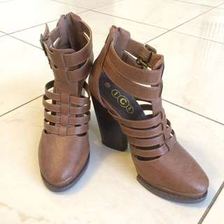 ICE Brown Strappy Heeled Boots