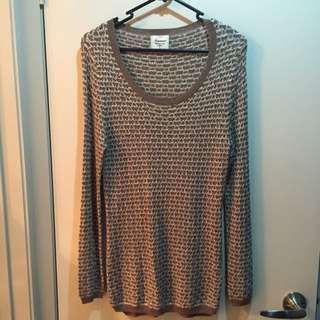 Brown Beige & Gold Knit Size S