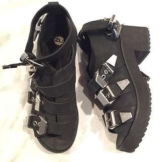 Punk Gothic Black Shoes ZU AU 8