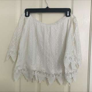 SOLD (pending) White Off The Shoulder Lace Crop