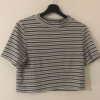 SUBTITLED Multi-Stripe Crop Tee