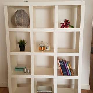 IKEA white square shelving with wheels