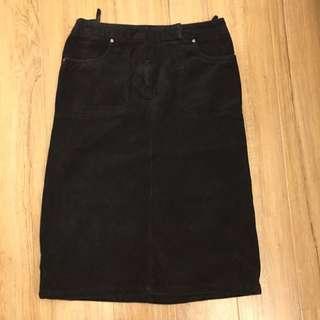 Esprit黑色絨布中長裙