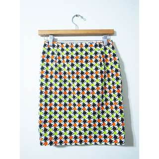 二手復古幾何撞色窄裙及膝裙 塔卡莎TAKASHA BEAMS KENZO