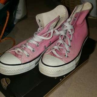 Pink Converse High Tops Womens Size 8