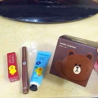 LINE 熊大粉餅、睫毛膏、護唇膏、護手霜(降價出售)
