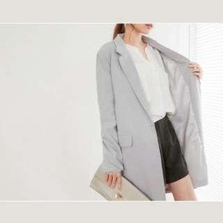 單釦長版西裝外套(淺灰)