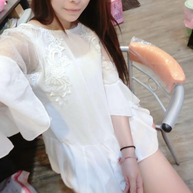 白色超仙雪紡氣質洋裝含運