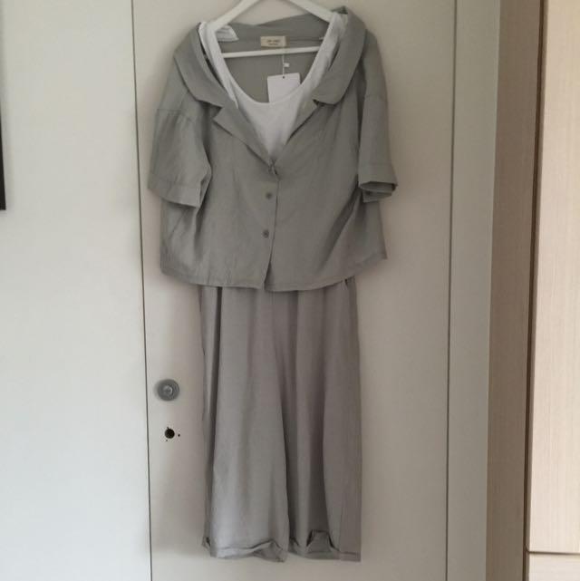 韓國套裝棉麻材質