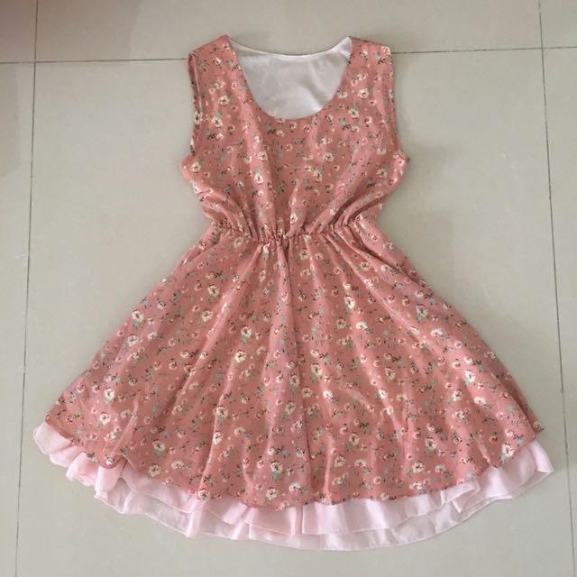 雪紡粉紅碎花鬆緊洋裝🌹