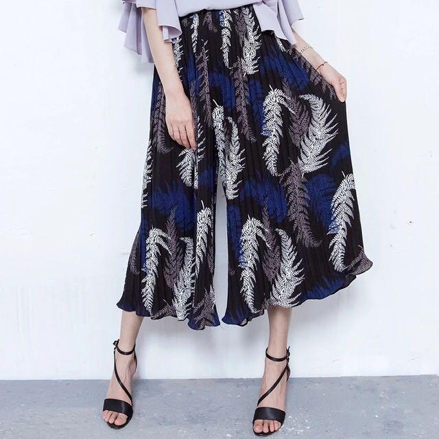 韓製雪紡打褶寬褲裙