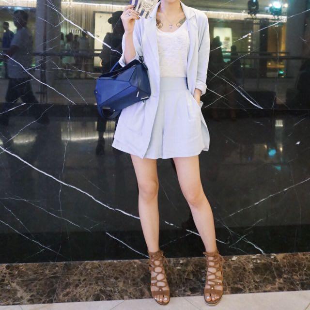正韓 棉麻 水藍套裝