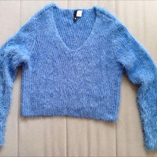 Blue Fluffy Cropped Jumper