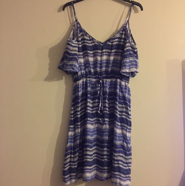 Blue Shoulderless Summer Dress