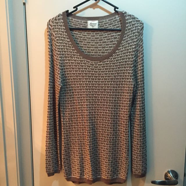 Brown Beige & Gold Knit Size S