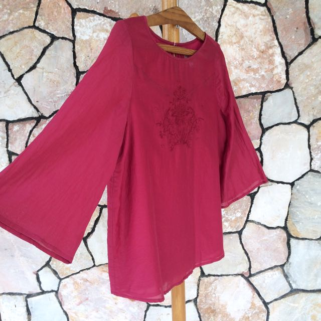 ‼️SALE‼️ EDEN Red Flare Sleeve Top