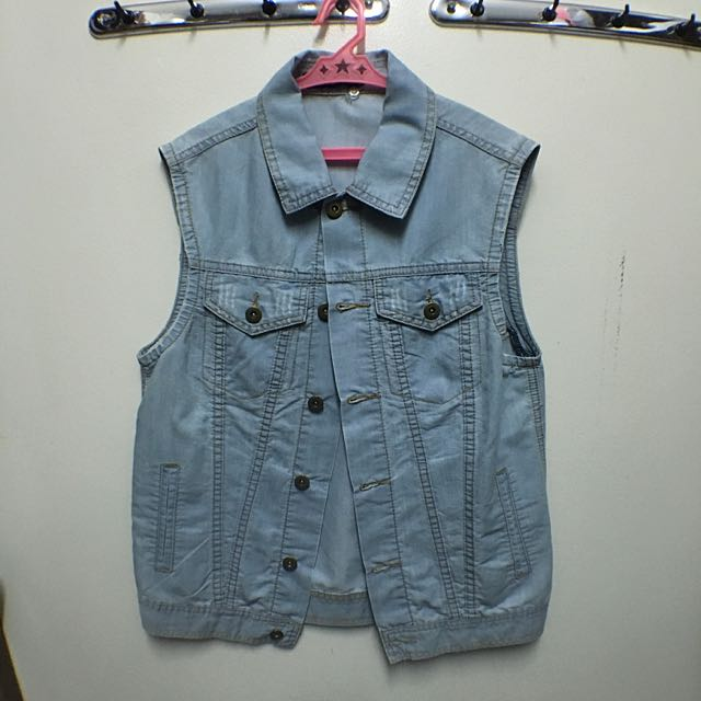 Folded & Hung Long Denim Vest