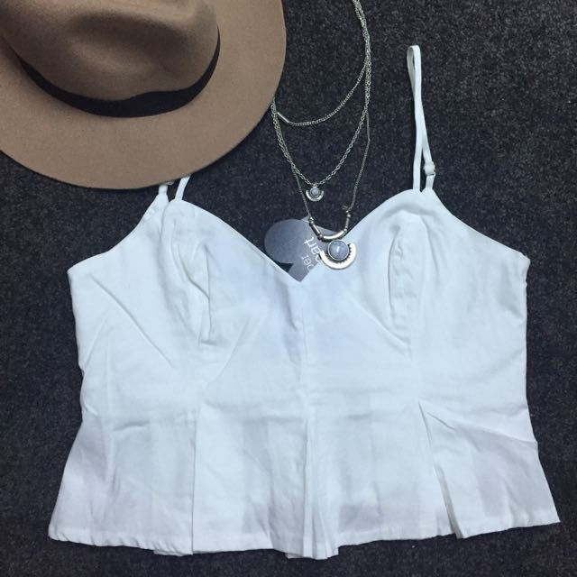 Frilled White Crop Top Size 12