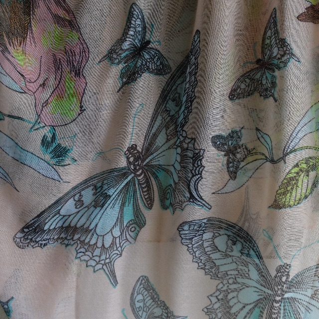 Gorgeous Ladies Scarf With Pink, Blue and Green Colours and Butterfly