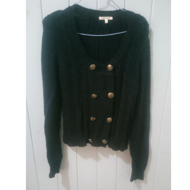 Navy jumper with anchor button detail