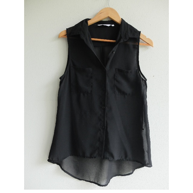 New Look Black Ladies Sheer Collared Singlet Size 10 (S or 6-10 fit) Button Up