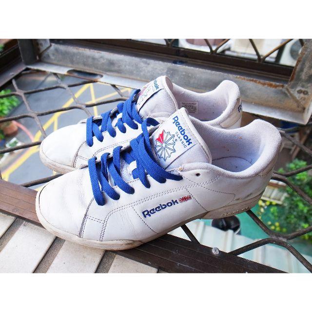 八成新REEBOK NPC UK II 全白網球鞋 25.5