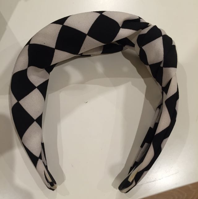 Retro Checkered Thick Hairband