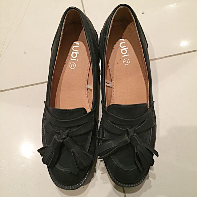 Rubi Black Vintage Oxford Punk Shoes