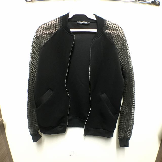 Sheer Sleeve Bomber Jacket From Something Borrowed