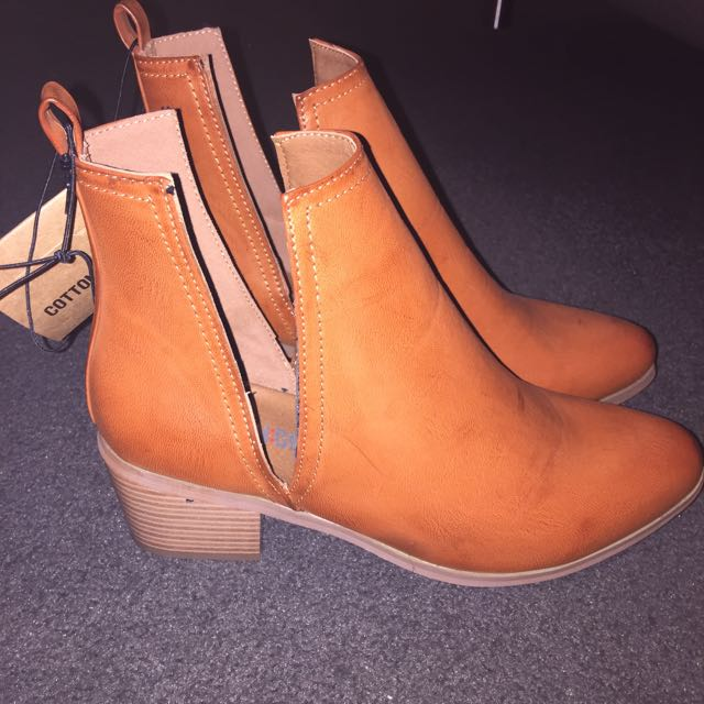 Tan Cut Out Boots (cotton On) - 8