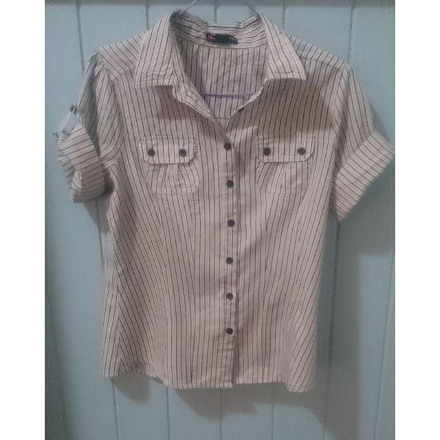 White striped work shirt