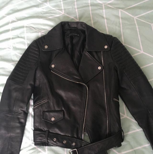 Zara Biker Leather Jacket Size XS