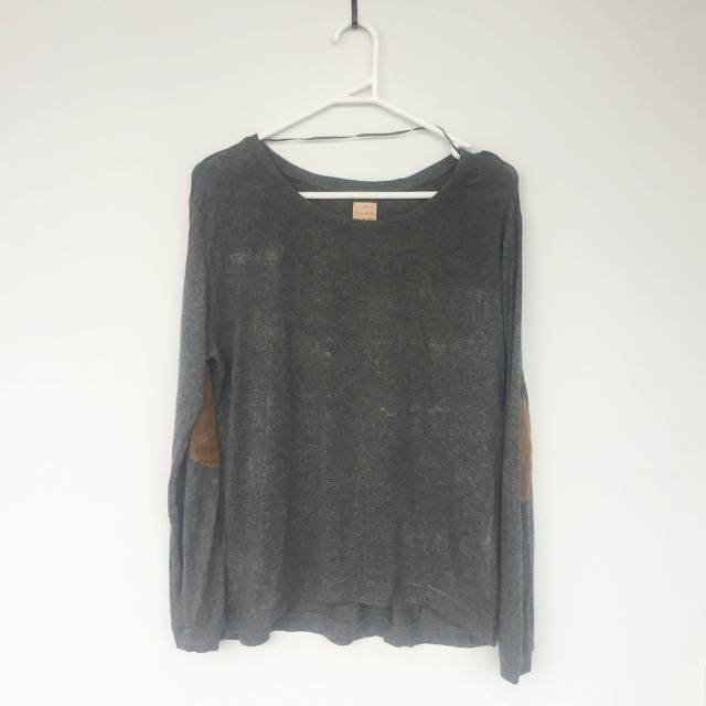 ZARA Grey Sweater With Brown Elbow Patch