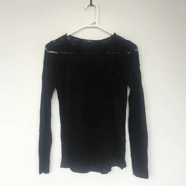 ZARA Shoulder Detailed Long Sleeve Top