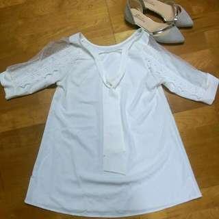 露比午茶❤白色雷絲袖子雪紡上衣