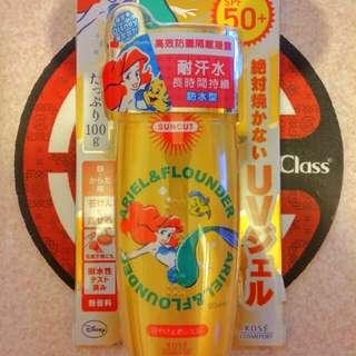 SPF50+ PA++++ 日本SunCut  UV 曬可皙高效防曬凝露 防水型  👍👍👍👍夏季必備 最強防曬  ❤Disney 小美人魚限量版 ❤無色清透不泛白。無香料,無色素,無paraben 類防腐劑!洗面乳即可卸除