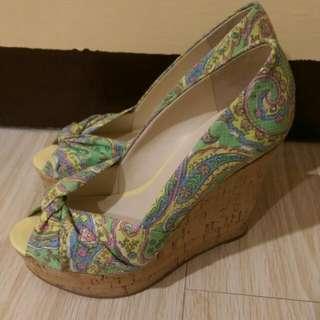 NINE WEST 夏日海洋楔型魚口鞋