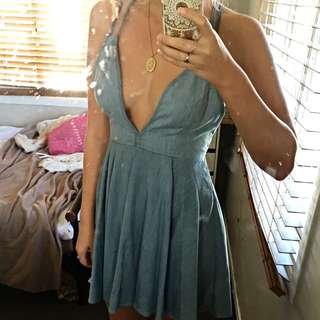 DENIM LOW CUT DRESS WITH TAGS